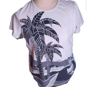 RALPH LAUREN TOP Palm tree Women XL Shirt White